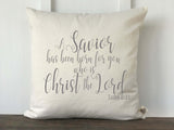 A Savior Has Been Born for You Christmas Pillow Cover Luke 2:11 - Returning Grace Designs