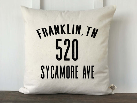 Personalized Farmhouse Vintage Style Address Pillow Cover - Returning Grace Designs