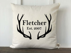 Antler Personalized Pillow Cover - Last Name and Year - Returning Grace Designs