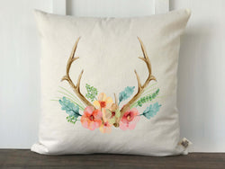 Antler Floral Watercolor Canvas Pillow Cover - Returning Grace Designs