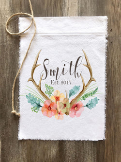Antler Floral Watercolor Personalized Canvas Flag - Returning Grace Designs