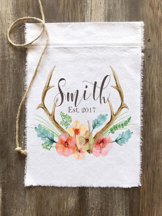 Antler Floral Watercolor Personalized Canvas Banner Flag - Returning Grace Designs