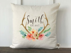 Antler Floral Watercolor Personalized Pillow Cover - Returning Grace Designs