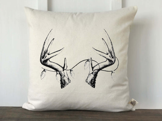 Antler with Lights Original Artwork Pillow Cover - Returning Grace Designs
