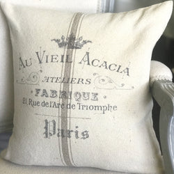 Arc De Triomphe Vintage French Graphic Grain Sack Stripe Pillow Cover - Returning Grace Designs