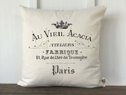 Arc De Triomphe Vintage French Graphic Canvas Pillow Cover - Returning Grace Designs