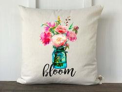 Mason Jar Watercolor Flower Bloom Pillow Cover - Returning Grace Designs