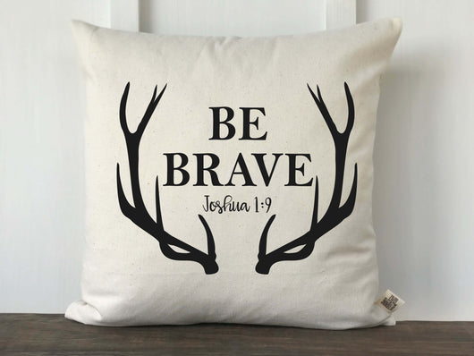 Be Brave Joshua 1:9 Antler Scripture Pillow Cover - Returning Grace Designs