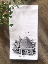 Vintage Bee Skep Flour Sack Tea Towel - Returning Grace Designs