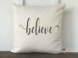 Believe Script Farmhouse Christmas Pillow Cover - Returning Grace Designs