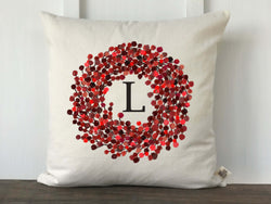 Berry Wreath Initial Pillow Cover - Returning Grace Designs