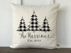 Buffalo Check 3 Christmas Trees Personalized Pillow Cover - Returning Grace Designs