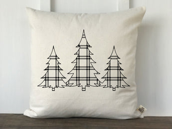 Plaid 3 Christmas Trees Pillow Cover - Returning Grace Designs