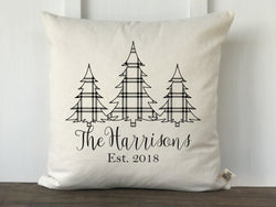 Plaid 3 Christmas Trees Personalized Pillow Cover - Returning Grace Designs