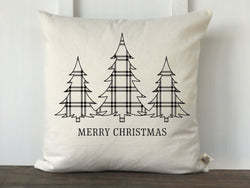 Plaid 3 Christmas Trees Merry Christmas Pillow Cover - Returning Grace Designs