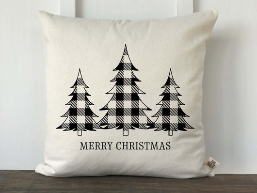 Buffalo Check 3 Christmas Trees Merry Christmas Pillow Cover - Returning Grace Designs