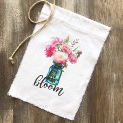 Mason Jar Peony Arrangment Bloom Canvas Flag - Returning Grace Designs