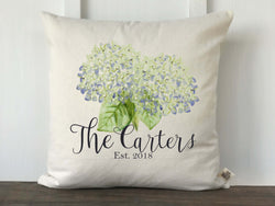 Personalized Watercolor Hydrangea Pillow Cover - Returning Grace Designs