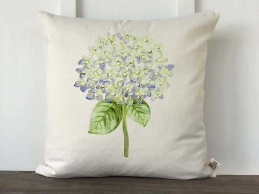 Hydrangea Watercolor Single Blue Flower Pillow Cover - Returning Grace Designs