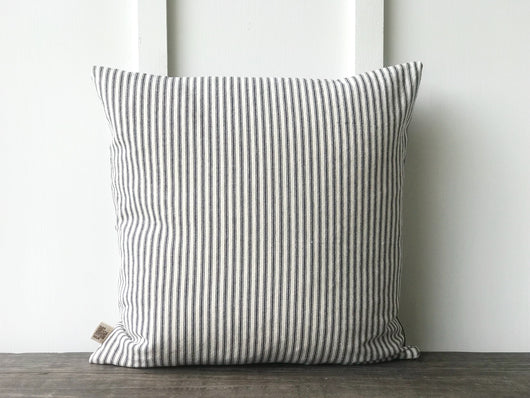 Blue Ticking Pillow Cover - Returning Grace Designs