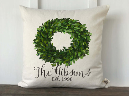 Boxwood Wreath Personalized Pillow Cover with Last Name and Established Date - Returning Grace Designs