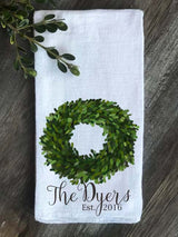 Boxwood Wreath Personalized Last Name and Est. Date Flour Sack Towel - Returning Grace Designs