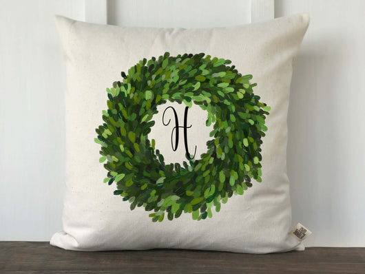 Boxwood Wreath Monogram Pillow Cover - Returning Grace Designs