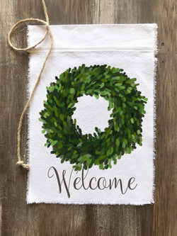 Boxwood Wreath Welcome Canvas Flag - Returning Grace Designs