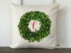 Boxwood Initial Christmas Pillow Cover - Returning Grace Designs