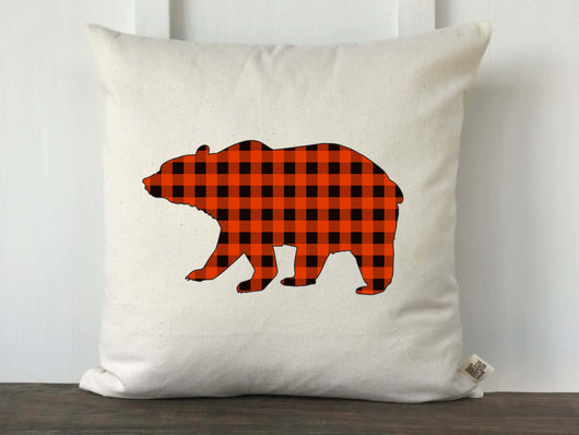 Buffalo Check Bear Silhouette Pillow Cover - Returning Grace Designs
