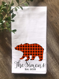 Buffalo Check Animal Silhouette Flour Sack Tea Towel - Bear, Deer and Moose - Returning Grace Designs