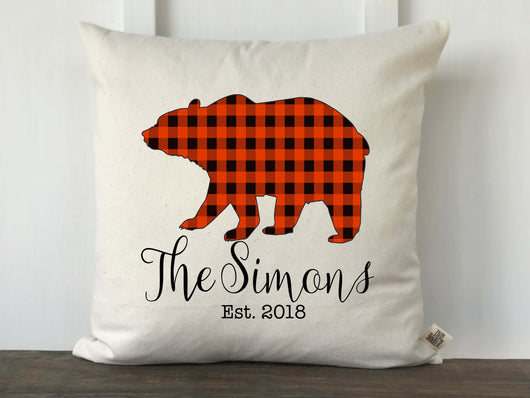 Buffalo Check Bear Silhouette Personalized Pillow Cover - Returning Grace Designs