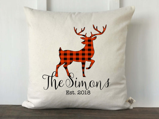 Buffalo Check Deer Silhouette Personalized Pillow Cover - Returning Grace Designs