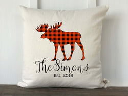 Buffalo Check Moose Silhouette Personalized Pillow Cover - Returning Grace Designs