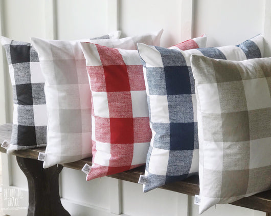 Buffalo Check Farmhouse Pillow Cover - Black, Gray, Blue, Red, Tan - Returning Grace Designs
