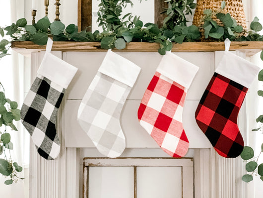 Buffalo Check Christmas Stockings - Returning Grace Designs