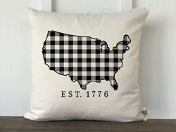 USA Silhouette Buffalo Check Pillow - Returning Grace Designs