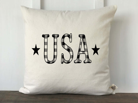 USA Letters Buffalo Check Pillow - Returning Grace Designs