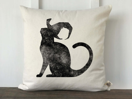 Black Cat with Witch Hat Pillow Cover
