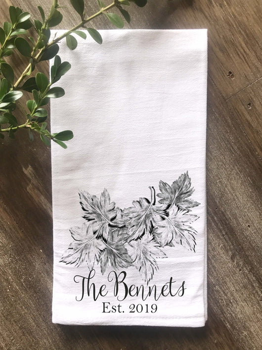 Leaves Original Art Personalized Flour Sack/Tea Towel - Returning Grace Designs