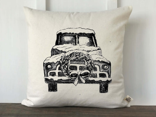 Vintage Christmas Truck Original Artwork Pillow Cover - Returning Grace Designs
