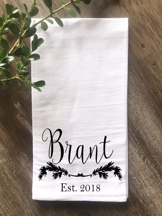 Personalized Pine Branch Christmas Flour Sack Tea Towel - Returning Grace Designs