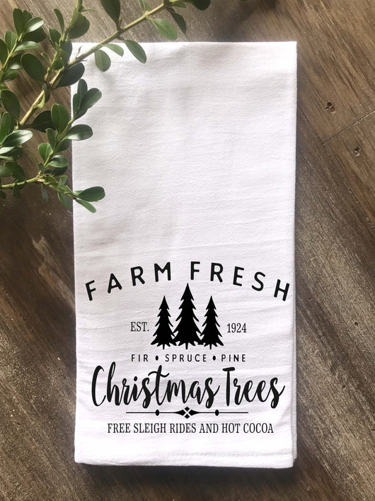 Farm Fresh Christmas Trees Flour Sack Tea Towel - Returning Grace Designs
