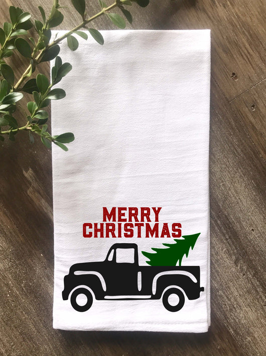 Vintage Truck Merry Christmas Flour Sack Tea Towel - Returning Grace Designs