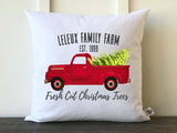 Farmhouse Personalized Family Christmas Tree Farm Vintage Truck Pillow Cover with Black Font - Returning Grace Designs
