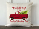 Farmhouse Personalized Family Christmas Tree Farm Vintage Truck Pillow Cover with Red Font - Returning Grace Designs