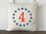 Circle Stars with 4 Patriotic Pillow Cover - Returning Grace Designs