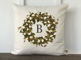 Cotton Wreath Initial Pillow Cover - Returning Grace Designs