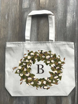 Cotton Full Wreath Personalized Initial Canvas Zippered Tote - Returning Grace Designs