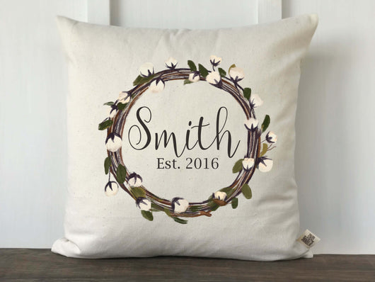 Cotton Wreath Pillow Cover - Last Name and Year - Returning Grace Designs